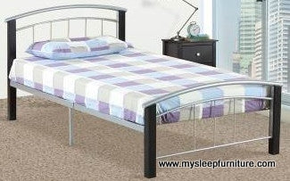 2330 SILVER COLOR METAL BED FRAME WITH ESPRESSO WOOD POSTS- TWIN, DOUBLE SIZES