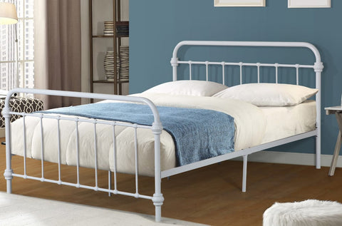 DOUBLE (FULL) SIZE- (2335 WHITE)- METAL- BED FRAME- WITH SLATTED METAL