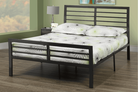 QUEEN SIZE- (5815 GREY)- METAL- BED FRAME- WITH SLATTED PLATFORM