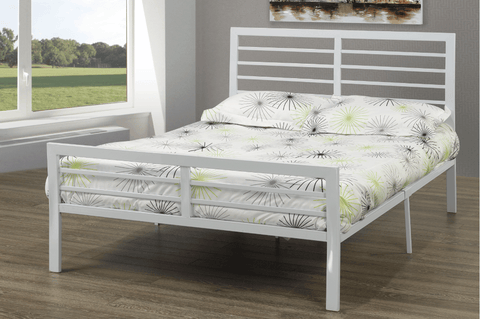 DOUBLE (FULL) SIZE- (2336 WHITE)- METAL- BED FRAME- WITH SLATTED PLATFORM