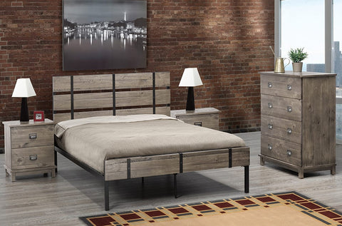 TWIN (SINGLE) SIZE- (2337 GREY)- METAL- BED FRAME- WITH CAGE SLATS
