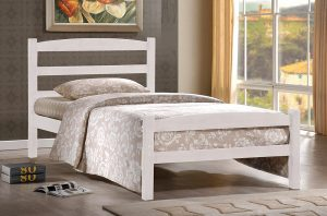 DOUBLE (FULL) SIZE- (2340 WHITE)- WOOD- BED FRAME- WITH SLATS