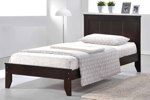 DOUBLE (FULL) SIZE- (2341 ESPRESSO)- WOOD- BED FRAME- WITH SLATS