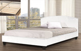QUEEN SIZE- (2350 WHITE)- PU LEATHER- BED FRAME- WITH SLATS