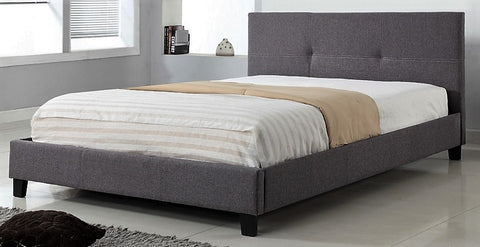 DOUBLE SIZE - (2358 GREY)- FABRIC- BED FRAME- WITH SLATS