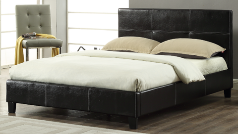 DOUBLE (FULL) SIZE- (2358 BLACK)- PU LEATHER- BED FRAME- WITH SLATS