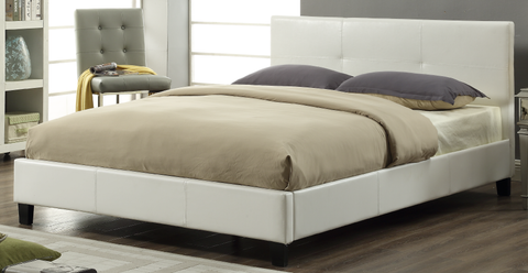 TWIN (SINGLE) SIZE- (2358 WHITE)- PU LEATHER- BED FRAME- WITH SLATS