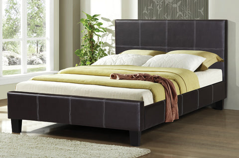 QUEEN SIZE- (2361 ESPRESSO)- PU LEATHER- BED FRAME- WITH SLATS
