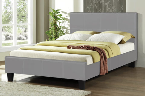 DOUBLE (FULL) SIZE- (2361 GREY)- PU LEATHER- BED FRAME- WITH SLATS
