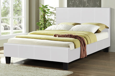 KING SIZE- (2361 WHITE)- PU LEATHER- BED FRAME- WITH SLATS