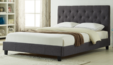 DOUBLE (FULL) SIZE- (2366 DARK GREY)- FABRIC- BUTTON TUFTED- BED FRAME- WITH SLATS