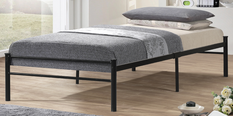 TWIN (SINGLE) SIZE- (2400 BLACK)- METAL- BED FRAME- WITH SLATTED PLATFORM- will be available after august 7, 2020