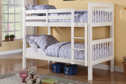 TWIN/ TWIN- 2500- WHITE COLOR- WOOD- BUNK BED