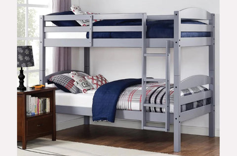 TWIN/ TWIN- (2508 GREY)- SPLITTABLE- WOOD- BUNK BED