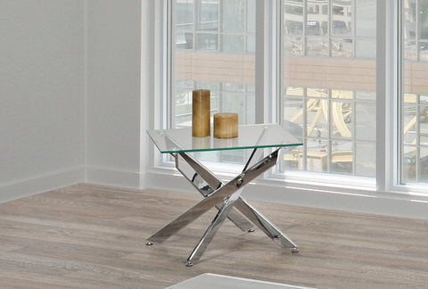 (2576)- GLASS- ACCENT SIDE TABLE