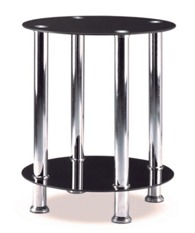 (2600 BLACK- 2)- GLASS- ACCENT SIDE TABLE- WITH SHELF