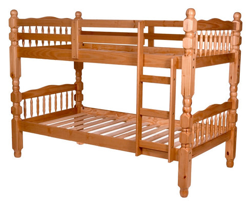 "TWIN/ TWIN- 2600- OAK COLOR- SOLID WOOD- 3"" POSTS- BUNK BED"