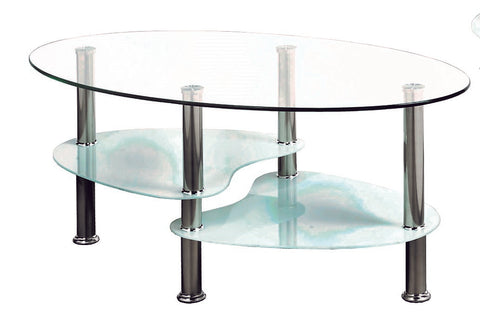 (2605 WHITE)- GLASS- COFFEE TABLE- WITH SHELVES