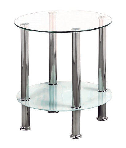 (2605- 2)- GLASS- ACCENT SIDE TABLE