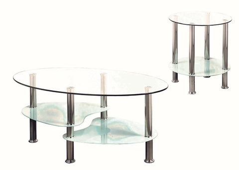 (2605 WHITE- 2)- GLASS- COFFEE TABLE + SIDE TABLE