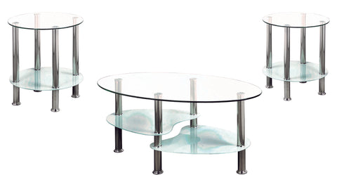 2605- WHITE COLOR- GLASS TOP- COFFEE TABLE- WITH 2 SIDE TABLES