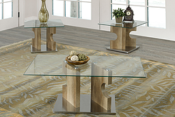 2680- GLASS- COFFEE TABLE- WITH 2 SIDE TABLES