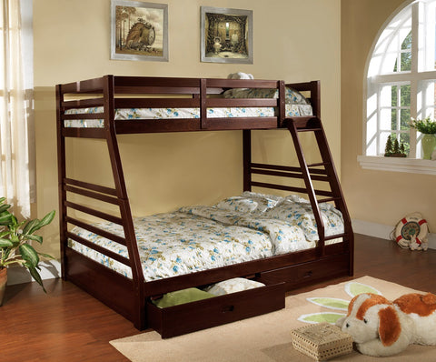 TWIN/ DOUBLE SIZE- (2700 ESPRESSO)- WOOD- BUNK BED- WITH DRAWERS- out of stock until january 31, 2021