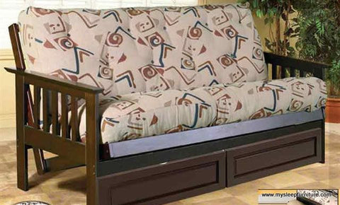 DOUBLE SIZE- 275- ESPRESSO COLOR- ALL WOOD- FUTON FRAME (WITHOUT DRAWERS)