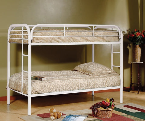 TWIN/ TWIN- (2810 WHITE)- METAL- BUNK BED- WITH SLATTED PLATFORM