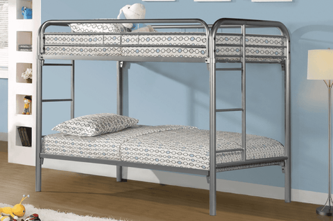 TWIN/ TWIN- (2810 SILVER)- METAL- BUNK BED- WITH SLATTED PLATFORM
