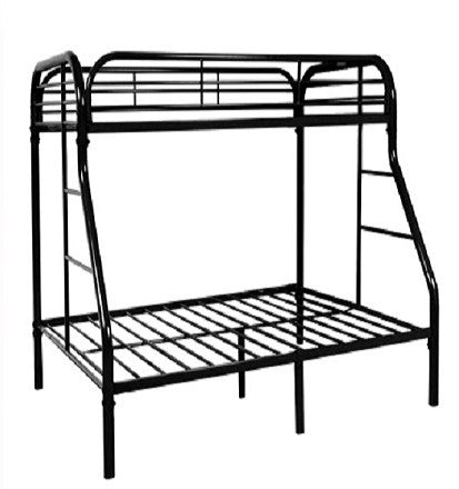 TWIN/ DOUBLE- (2820 BLACK)- METAL- BUNK BED