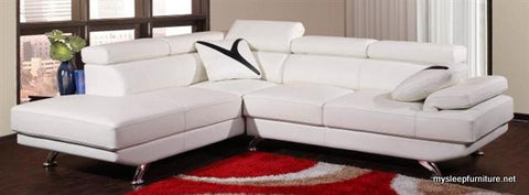 2850 BONDED LEATHER SECTIONAL SOFA WITH 2 PILLOWS AND ADJUSTABLE HEADRESTS- WHITE OR BLACK COLORS