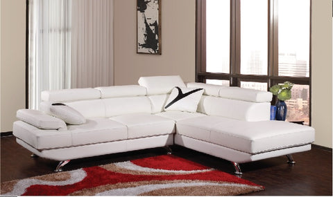 (2880 WHITE)- RHF- BONDED LEATHER- SECTIONAL SOFA