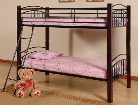 TWIN/ TWIN- (2910)- METAL- BUNK BED- WITH WOOD POSTS