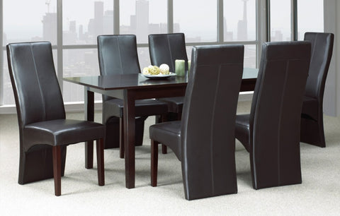 (3009T- 200C ESPRESSO- 7 PC. SET)- WOOD- DINING TABLE- WITH 6 CHAIRS- out of stock until march 31, 2021