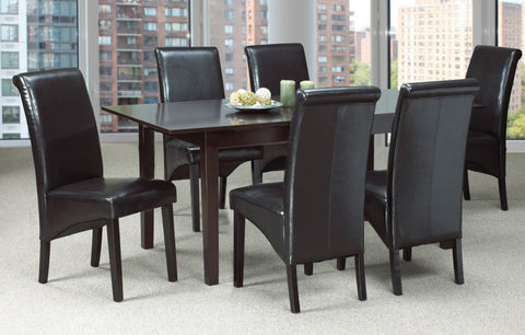 (3009T- 220C ESPRESSO- 7 PC. SET)- WOOD- DINING TABLE- WITH 6 CHAIRS