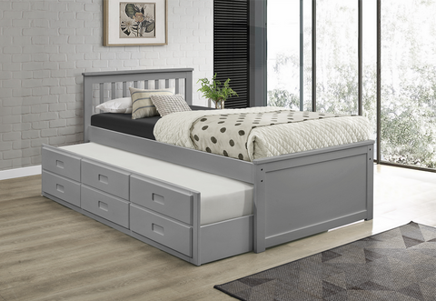 TWIN (SINGLE) SIZE- (300 GREY)- WOOD- TRUNDLE BED