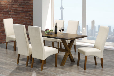 (3036-230) WALNUT SOLID WOOD 7 PC. DINING SET WITH WALNUT CHAIRS