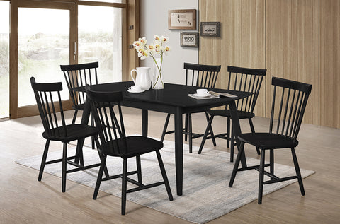 (3056-3055) BLACK SOLID WOOD 7 PC. DINING SET WITH BLACK SOLID WOOD CHAIRS