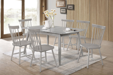 (3056-3055) GREY SOLID WOOD 7 PC. DINING SET WITH GREY SOLID WOOD CHAIRS