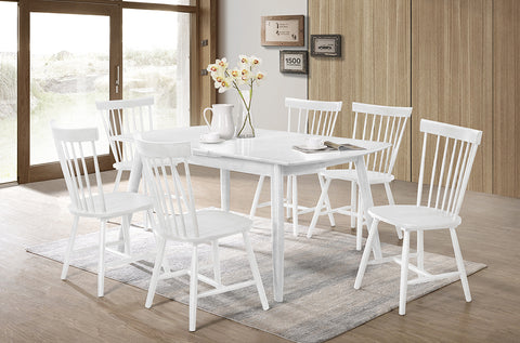 (3056-3055) WHITE SOLID WOOD 7 PC. DINING SET WITH WHITE SOLID WOOD CHAIRS