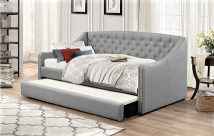 TWIN (SINGLE) SIZE- (308 GREY)- FABRIC- DAY BED- WITH TRUNDLE
