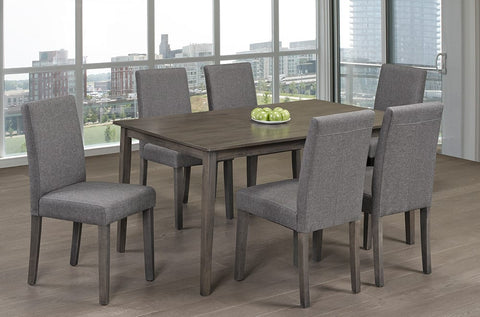 (3117T- 248C GREY- 7 PC. SET)- WOOD- DINING TABLE WITH 6 CHAIRS
