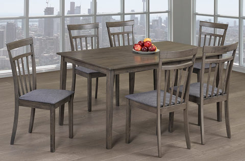 (3117 GREY- 7 PC. SET)- DINING TABLE WITH 6 CHAIRS- WILL BE AVAILABLE AFTER OCTOBER 15, 2020