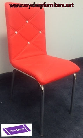 (312 RED)- CRYSTAL BACK- DINING CHAIR- ONLY 2 CHAIRS LEFT