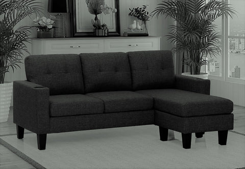 (3132 BLACK)- FABRIC- REVERSIBLE- SECTIONAL SOFA- WITH CUPHOLDERS