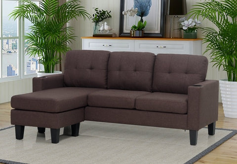 (3132 BROWN)- FABRIC- REVERSIBLE- SECTIONAL SOFA