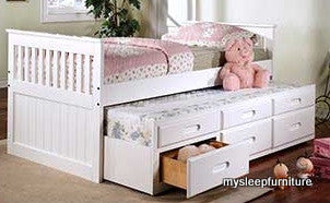 314W TWIN SIZE WHITE COLOR WOOD CAPTAIN BED WITH TRUNDLE AND DRAWERS