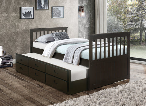 TWIN (SINGLE) SIZE- (314 ESPRESSO)- WOOD- CAPTAIN BED WITH TRUNDLE AND DRAWERS