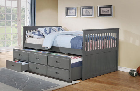 TWIN (SINGLE) SIZE- (314 GREY)- WOOD- CAPTAIN BED- WITH TRUNDLE AND DRAWERS